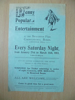 1911 PENNY POPULAR ENTERTAINMENT-CONCERT by Withington Congregational Church