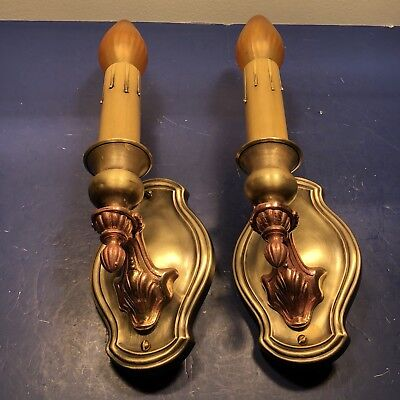 Pair of antique lightolier red&yellow brass sconces Nice! 65B