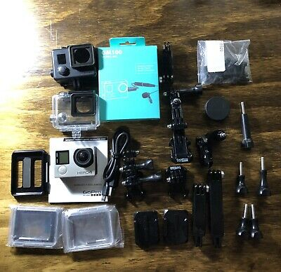 GoPro HERO4 Black Bundle Mic Moto Vlog Helmet Kit 64gb Sd Card Action Camera