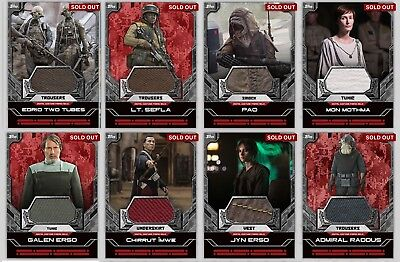 Star Wars Card Trader Rogue One Relics (Lot of 8) Edrio Pao Chirrut Jyn Raddus