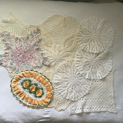 Vintage Crochet Doilies Doily Lot 8 completed square round star oblong D76