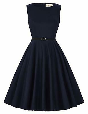 Grace Karin NEW Navy Blue Womens Size XL Belted Fit Flare A-Line Dress $50 782
