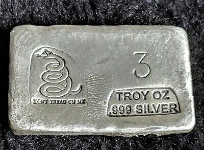 Don't Tread On Me (3) Oz .999 Pure Silver Bar