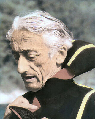 JACQUES COUSTEAU FRENCH EXPLORER INVENTOR SCIENTIST 8x10 HAND COLOR TINTED PHOTO