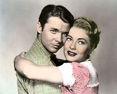 "Audie Murphy & Lori Nelson Destry 1954 Actors 8X10"" Hand Color Tinted Photo"