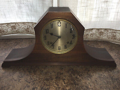 Antique New Haven Octagon Mantel Clock Works Key & Pendulum