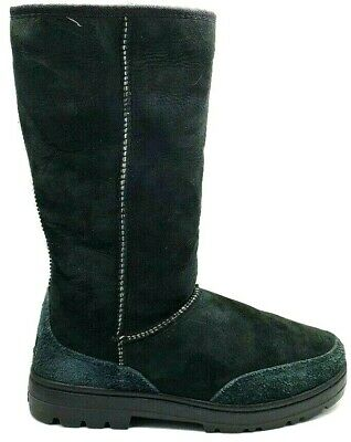 44096f26286 UGG WOMENS SUEDE Sheepskin Winter Boots Size US 8 Black New ...