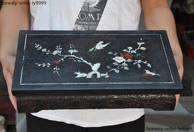 China Rosewood wood Inlay shell flower bird statue Tea Tables Desk writing desk