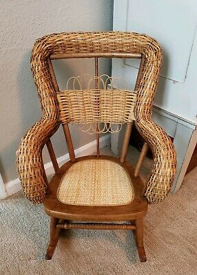 Vintage Childs Childrens Wicker Boho Rattan Cane Rocker Rocking Chair Heywood