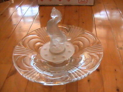 Art Deco Libochovice glass float bowl (white frosted) with rare duck centrepiece