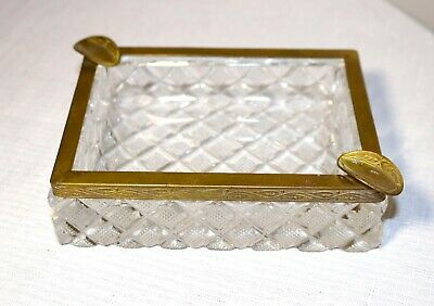 antique ornate French cut crystal gilt ormolu bronze cigarette cigar ashtray