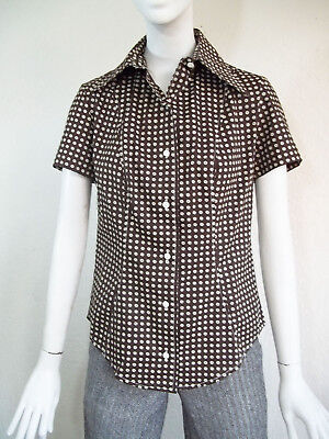 Vintage 70s Ditsy Daisy Floral Print Dagger Collar Button Front Blouse Shirt