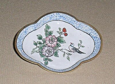 Vintage Chinese Enamel on Brass Small DISH Hand Painted Bird on Flower 592g