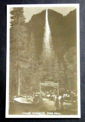 1940'S Postcard Camp Curry's Fire Fall Glacier Point Yosemite National Park