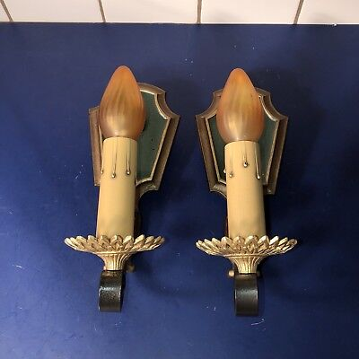 1930's polychrome sconces with brass sunflower accents 61B
