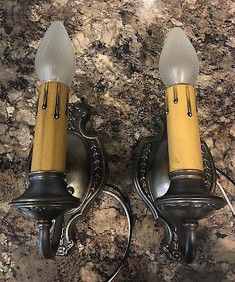 Beautiful BRASS Wall Sconces Antique Wired Pair Electric Candles 2A