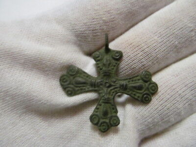 Ancient bronze cross with crucified Vikings 10-11 АD № 489/8(restoration)
