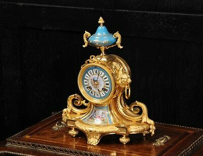 Antique French Ormolu and Sevres Porcelain Boudoir Clock Fully Working C1870