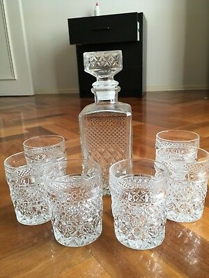 Heavy Lead Crystal Decanter with matching glasses