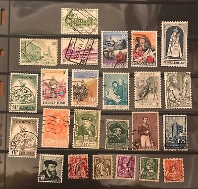 Belgium postage stamps lot of 24 different old.           Mr