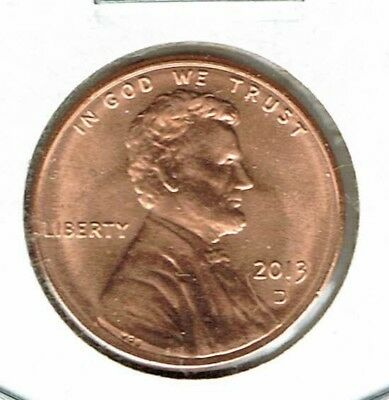 2013-D Denver Brilliant Uncirculated Lincoln Shield One Cent Coin!