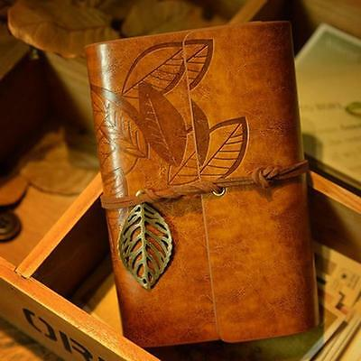 Vintage Classic Retro Leather Leaf Notepad Notebooks Blank Journal Diary YLW L8