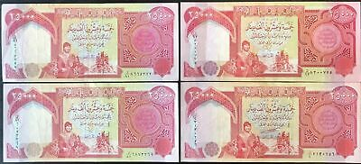 4 x 25,000 IQD - 100,000 IRAQI DINAR in (4) 25000 Notes - FAST FREE DELIVERY
