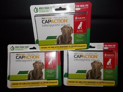 PetAction CapAction for Dogs over 25 lbs + Flea Treatment Nitenpyram 6 Tablets