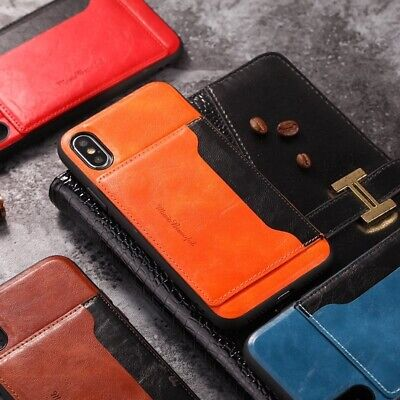 For iPhone XS Max XR/X/8 6S Shockproof Leather Card Holder Back Kickstand Case