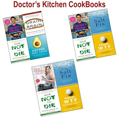 Doctor's Kitchen, How Not To Die, Grain Brain Food Medic Collection Books Set