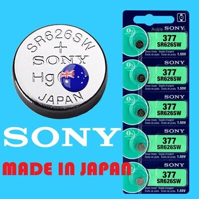 5 x SR626SW SONY Japan Silver Oxide 377/AG4/SR66 Battery Cell Button Batteries