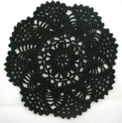 Beautifully Crocheted Round Doily Black  Colour Size 19 Cm / 7 1/2 Ins Diam Vgc
