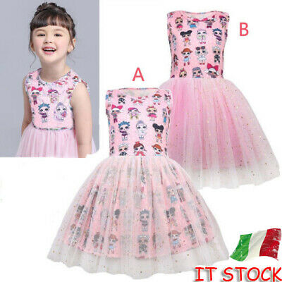 Girls LOL Vestito da compleanno festa per bambini Surprise Doll Princess Dress