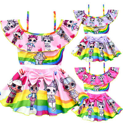 Kids LoL Surprise Girls Costume bagno Costumi bagno Bikini 2 Set costume 3-10Y