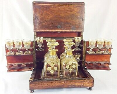 Antique French Tantalus liquor cabinet w glass decanters & cut glass cordials