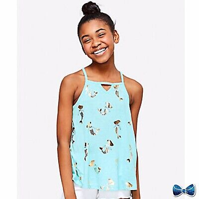 Justice Girls Size 14-16 Foil Keyhole High Neck Tank New With Tags New