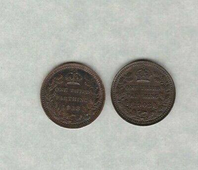 1902 Edward Vii & 1913 George V Third Farthings In Very Fine Condition