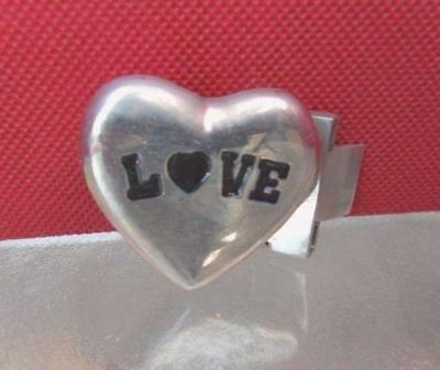 """Vintage LOVE Heavy Heart Shaped Nickle Silver Buckle Tooth Jaw to attach 1"""" belt"""