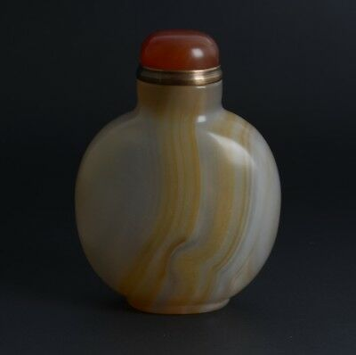 Chinese Handcrafted Brown Striped Floating Natural Agate Snuff Bottle-JR12077