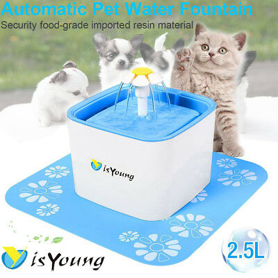 isYoung Flower Automatic Pet Cat Dog Water Drinking Fountain Bowl Filter 2.5L UK