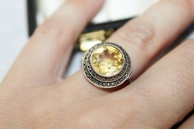 ART DECO 835 Sterling Silver MARCASITE & CITRINE Halo Cocktail Ring sz 7 1/2