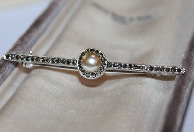 ESTATE Art Deco 835 STERLING Silver MARCASITE & PEARL Bar Brooch Pin