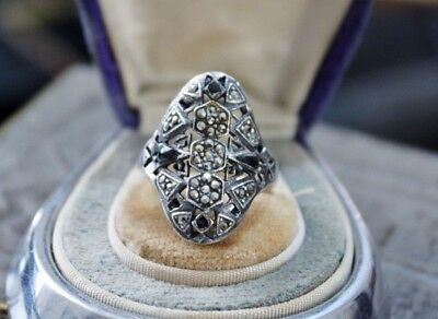 ART DECO vintage STERLING Silver MARCASITE Ring  7 1/2