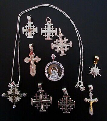 Sterling Silver Lot of 11 Religions Pendants NOT SCRAP From Jerusalem Hallmark