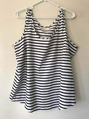 150ee7e9b3b0c WOMEN S FADED GLORY Sleeveless Blouse Sz XXL (20) Black White Stripe ...
