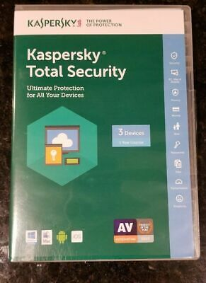 Kaspersky Total Security  2018 2019  3 Devices 1 YR  EU USA Canada Lat.America