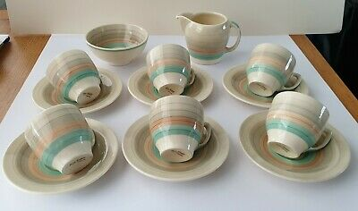 Susie Cooper 14 Pc Small Art Deco Pastel Colours And Striped Tea Set