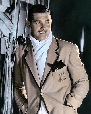 "CLARK GABLE HOLLYWOOD MOVIE STAR ACTOR ascot 8x10"" HAND COLOR TINTED PHOTOGRAPH"