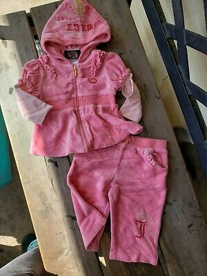 Juicy Couture Pink Velour Zip Up Track Suit Girls/Infants Size 3-6 Months outfit