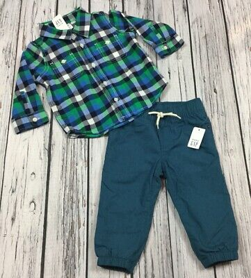 Baby Gap Boys 12-18 Month Teal Plaid Shirt & Teal Soft Lined Pants Outfit. Nwt